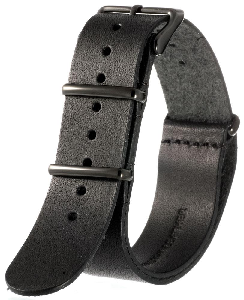 EMPIRE NATO ベルト 時計 バンド ブラック尾錠 イタリアンレザー 腕時計 ベルト 時計ベルト 腕時計ベルト 革 18mm 20mm 22mm