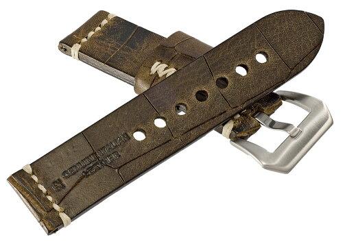 EMPIREパネライ向けハンドメイドイタリアンレザーディープクロコ本革時計ベルト22mm24mm