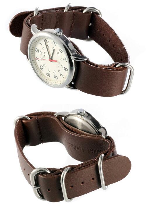 ZULU本革レザー時計ベルトバンドストラップ20mmタイメックス腕時計のベルト付け替えに最適!【メール便送料無料】