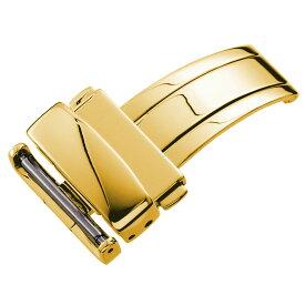 WAQUIZ ワクイズ 腕時計 ベルト 時計ベルト 腕時計ベルト 革ダブルプッシュ式 三つ折れ Dバックル ゴールド 12mm 14mm 16mm 18mm