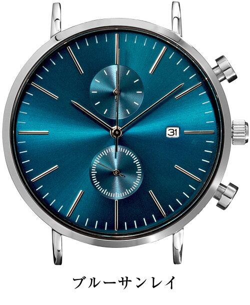 ClassicRoundChrono41mm日本製ムーブ搭載シンプルクロノグラフ腕時計ベルトを着せかえてスタイリングが楽しめる!(ベルト別売り)