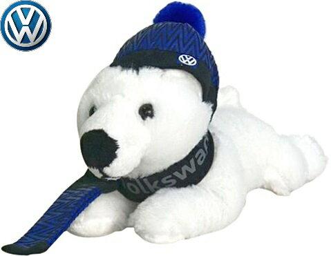【M's】フォルクスワーゲン 純正品 VW Polar Bear Plush(ホワイト/ブルー)//ぬいぐるみ VOLKSWAGEN クマ シロクマ 熊 白熊 アクセサリー 23cm x 12cm x 16cm 276532