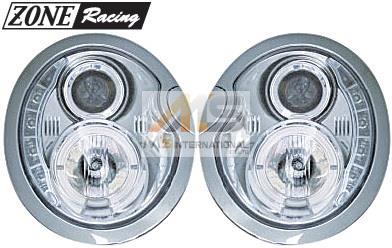 【M's】R50 R52 R53 BMW ミニ(-2006y)ZONE Racing製 LEDデーライトルック プロジェクター キセノン ヘッドライト(35w/6000k)//291353 MINI 1.4L/1.6L R16 ワン クーパー(S) コンバーチブル ゾーンレーシング イカリング 新品