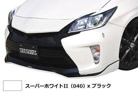 【M's】プリウス 30 後期 フロント グリル ガーニッシュ ABS製 スーパーホワイトII(040)x ブラック 塗装済 / G's ルック / トヨタ TOYOTA PRIUS / マークレスグリルガーニッシュ