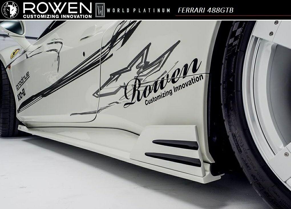 【M's】Ferrari 488 GTB サイド ステップ FRP / ROWEN/ロエン エアロ// WORLD PLATINUM / フェラーリ side step / 1F003J00
