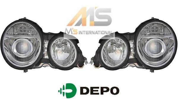 【M's】W210 ベンツ AMG Eクラス 前期(96y-99y)DEPO製 07y-後期ルック ヘッドライト 左右(ハロゲン車用)//デポ ライト W211ルック S210 E230 E240 E320 E400 E430 E50 E55 日本仕様 左側通行用