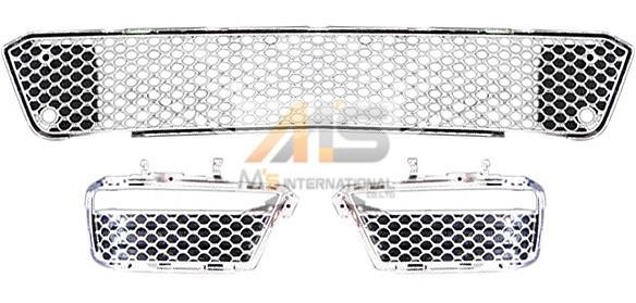 【M's】W221 ベンツ AMG Sクラス S65 S63 後期(10y-)クロームバンパーメッシュ 3点セット // BENZ 社外 加工品 3316 前 フロント F キット 希少 高品質 エムズ 新品