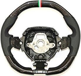 【M's】ランボルギーニ アヴェンタドール SV (2011y-) iiD製 カーボン ステアリング (黒パンチングレザー+トリコローレステッチ+トリコローレマーキング) CARBON ガングリップ ハンドル コンビハンドル コンビステアリング ランボ Lamborghini Aventador SV アベンタドール