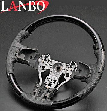 【M's】ダイハツ ウェイク LA700/710s(2014y-)LANBO ノーマルグリップ コンビステアリング(ピアノブラック)//DAIHATSU WAKE ウエイク 社外品 ランボ ハンドルパンチングレザー ブラックレザー