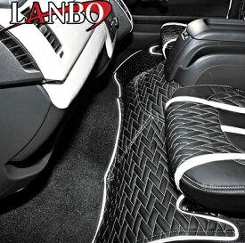 【M's】トヨタ ハイエース 200系 1-4型(標準ボディー)LANBO製 エンジンフードカバー TYPE LUXE (ブラック×ホワイト×シルバーステッチ)//社外品 ランボ TOYOTA HIACE ハイエース200 200ハイエース レジアスエース