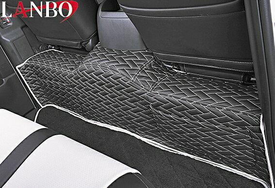 【M's】トヨタ ハイエース 200系 1-4型(ワイドボディー用) LANBO製 セカンドデッキカバー TYPE LUXE (ブラック×ホワイト×シルバーステッチ)//社外品 ランボ LANBO リアデッキ リヤデッキ TOYOTA HIACE ハイエース200 200ハイエース レジアスエース