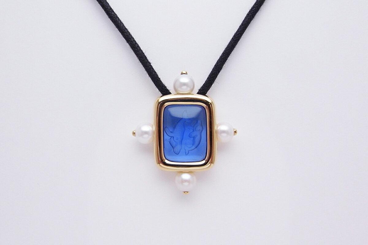 ミキモト(MIKIMOTO)真珠ブルーインタリオネックレス750YG 5.8-6.2mm 15.4g【中古】程度S【smtb-m】