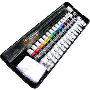 ターナー ポスターカラー プレンティセット(K) Wパレット付ケース/11ml絵具14色/20mmホワイト/黒軸ナイロン筆3本(面相筆・彩色筆・平筆)・黒軸棒/アクリル製ミゾ付定規30cm/ミニふき