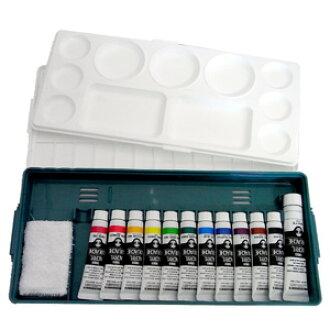 Turner Acryl gouache combination set Prime set (12 A) palette + acrylic 11 colors (11 ml) + white paint 20 ml + mini towel
