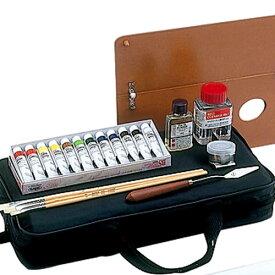 【あす楽対応】 ホルベイン 油絵具アタッシュミニバッグM-2BSセット 油絵具BSセット・ペインティングオイル40ml、クリーナー・油壺・ペインティングナイフ・パレットナイフ・筆3本・筆