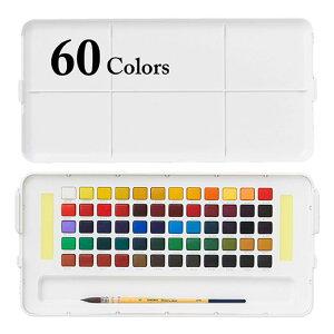 固形水彩絵具 プチカラー60色セット (筆・パレット・スポンジ付き) サクラクレパス/固形水彩絵具/プチカラー/60色/絵はがき・スケッチに