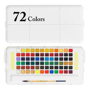 固形水彩絵具 プチカラー72色セット (筆・パレット・スポンジ付き) サクラクレパス/固形水彩絵具/プチカラー/72色/絵はがき・スケッチに
