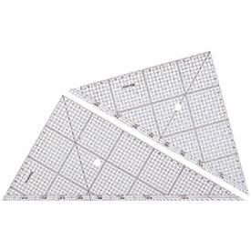 【メール便可】 ステッドラー 三角定規 レイアウト用方眼三角定規 30cm/厚2mm (966 30) (鉛筆・シャープペンシル用/45度60度ペア/5mm方眼・1mm点線目盛り/分度目盛付き/鏡面