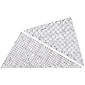 【メール便可】 ステッドラー 三角定規 レイアウト用方眼三角定規 24cm/厚2mm (966 24) (鉛筆・シャープペンシル用/45度60度ペア/5mm方眼・1mm点線目盛り/分度目盛付き/鏡面