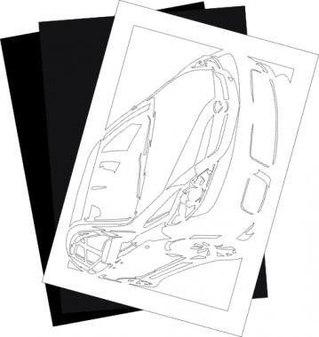 切り紙屋 マツダ(MAZDA) プレマシーの切り紙用【型紙】と切り紙用紙2枚のセット(1)