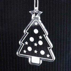 アンシャンテラボ アクリル製クリスマスオーナメント 5mm ツリー (ギフトボックス、牛革ひも30cm付き)【ゆうパケット対応】