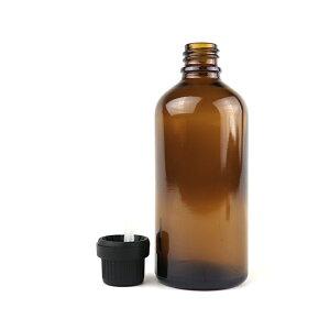100ml 1個入 遮光瓶 茶色 ドロッパー付 43.5mm×111.5mm Φ10.5mm / 遮光ビン ガラスボトル ガラス製 保存用 ブラウン アロマオイル エッセンシャルオイル 精油 蓋付 ガラス瓶 キャリアオイル フレグラ