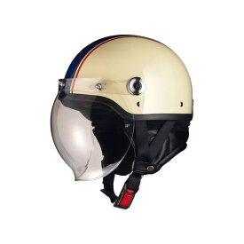 リード工業 バイクヘルメット ジェット CROSS 開閉式バブルシールド付き ハーフヘルメット フリー 57-60cm未満 アイボリー×ネイビー CR-760