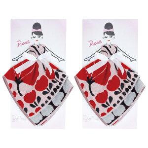 Floral sisters 3重ガーゼ ハンカチ ギフト Rose×赤と黒の葉っぱ PCFS-801 2個セット 日本国内正規品 【 あす楽 】 【 ハンカチ はんかち ガーゼ 今治はんかち ガーゼはんかち ハンドタオル ギフト プ