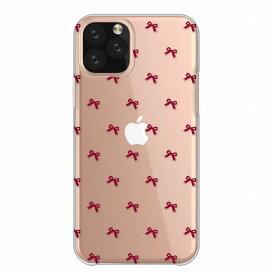 全機種対応 iPhone11ProMax iPhoneXS iPhoneXR対応 クリアケース スマホケース ハードケース Xperia8 5 AQUOS sense3 zero2 Galaxy Note10 Google Pixel4 アイフォン アンドロイド携帯対応 リボン 総柄 レッド フェミニン 可愛い