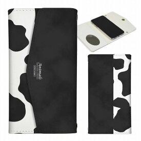 全機種対応 iPhoneSE(第2世代) iPhone11 X/XS Max対応 レター型 ミラー付 鏡付 スマホケース 手帳型 レターケース arrows 5G Xperia 1 II 10 AQUOS sense3 Galaxy S20+ SE2対応 牛柄 ミルク ブラック 大人可愛い レディース