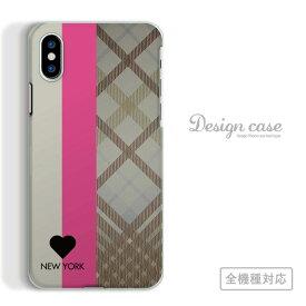 全機種対応 スマホ ケース iPhoneX/XS Max XR対応 NEW YORK チェック柄 ストライプ カラフル オシャレ お洒落 アート アート柄 デザイン 黒 白 ピンク ベージュ チェック 北欧 個性的 デザイナー iPhone Xperia 1 Ace XZ3 AQUOS R3 sense2 ZERO Galaxy S10+