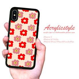 【 送料無料 】 耐衝撃 iPhone ケース TPU ハードケース iPhone x ケース iphone8ケース iPhone7 iPhone6s 流行 トレンド セレブ デザイン 花柄 ベージュ 赤色 ピンク 北欧