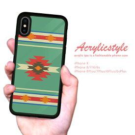 【 送料無料 】 耐衝撃 iPhone ケース TPU ハードケース iPhone x ケース iphone8ケース iPhone7 iPhone6s 流行 トレンド セレブ デザイン ネイティブアメリカン 緑色 エスニック ブルー オルテガ柄 シンプル