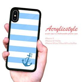 【 送料無料 】 耐衝撃 iPhone ケース TPU ハードケース iPhone x ケース iphone8ケース iPhone7 iPhone6s 流行 トレンド セレブ デザイン ボーダー 横線 碇 水色 ブルー