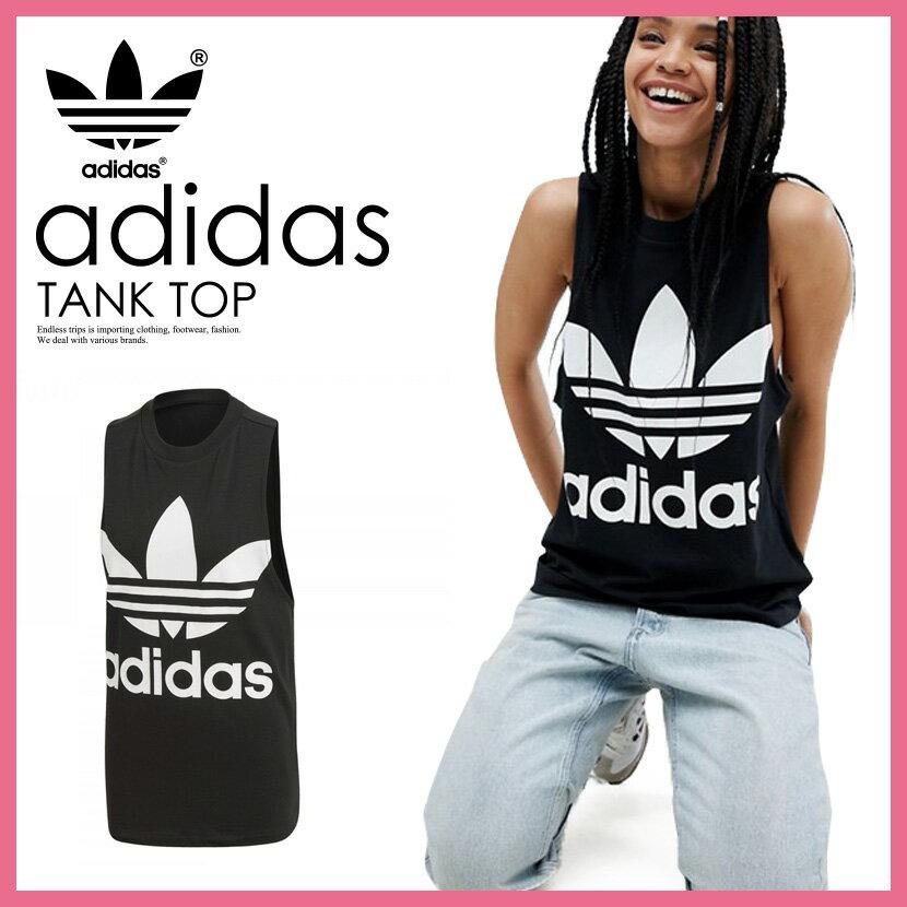 【日本未入荷! 海外限定! レディース ノースリーブ シャツ】 adidas (アディダス) WOMENS TREFOIL TANK TOP [TREFOIL TANK] (トレフォイル タンク トップ) LADYS ウィメンズ タンク ロゴ BLACK (ブラック) CE5578 ENDLESS TRIP