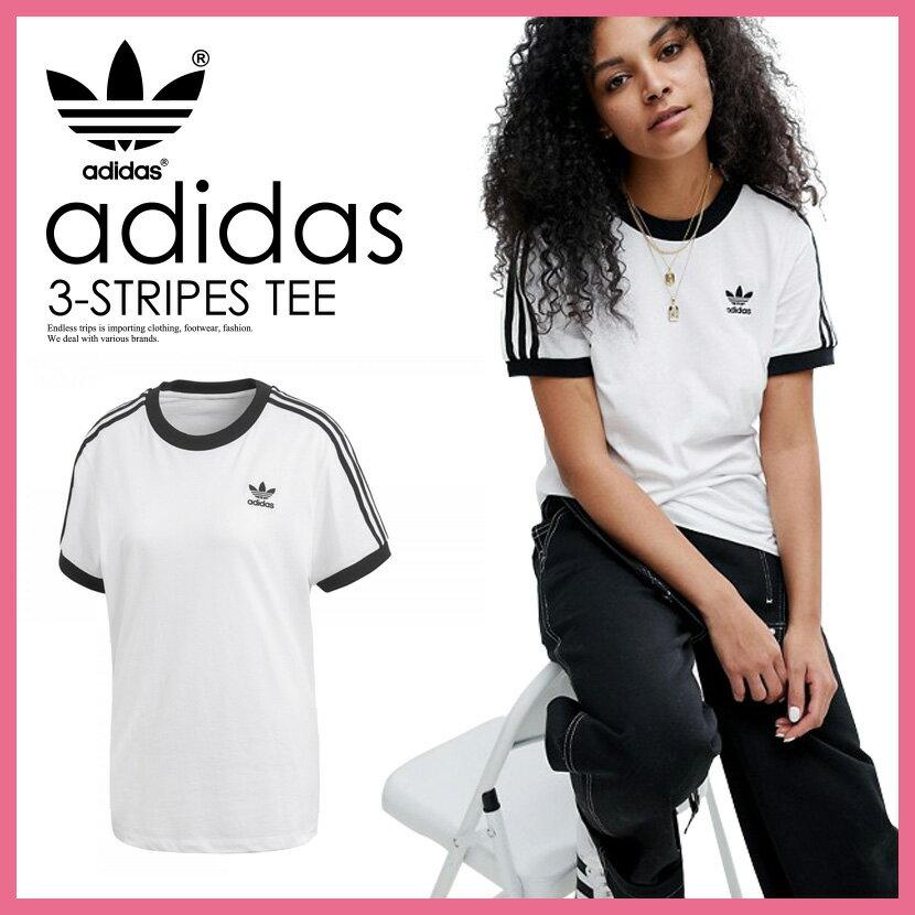 【日本未入荷! 海外限定! レディース Tシャツ】 adidas (アディダス) WOMENS 3-STRIPES TEE (3ストライプス Tシャツ) LADYS ウィメンズ Tシャツ 半袖 ロゴ カリフォルニア WHITE/BLACK (ホワイト/ブラック) CY4754 ENDLESS TRIP