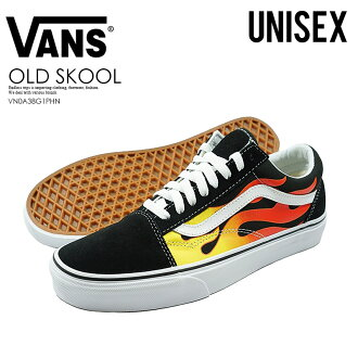 VANS (station wagons) OLD SKOOL (old school) vans sneakers (FLAME)BLACK/BLACK/TR WHT (black / white) fire VN0A38G1PHN