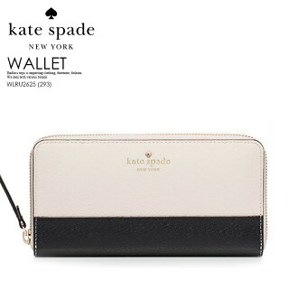 kate spade Kate spade GRAND STREET COLORBLOCK NEDA (メイビスストリートカラーブロックネダ) Lady's round fastener wallet long wallet by color PEBBLE/BLACK(293) off-white / black WLRU2625 ENDLESS TRIP (endless trip)