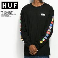 【希少!!大人気!ユニセックスサイズ】HUF(ハフ)FLAGSLONGSLEEVET-SHIRT(フラッグスロングスリーブ)メンズレディース長袖TシャツロンTBLACK(ブラック)ZUS271509