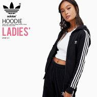 【大人気!入手困難!レディースモデル】adidas(アディダス)WOMENS3STRIPESZIPHOODIE(3STRZIPHOODIE)(スリーストライプスジップフーディ)長袖パーカートップスジップアップレディースウィメンズBLACK(ブラック)DN8151ENDLESSTRIP