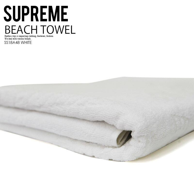 【入手困難!大人気!】Supreme (シュプリーム) SUPREME DEBOSSED LOGO BEACH TOWEL (デボス ロゴ ビーチ タオル) ビーチタオル 大判 大判タオル メンズ レディース WHITE (ホワイト) SS18A48 WHITE ENDLESS TRIP エンドレストリップ