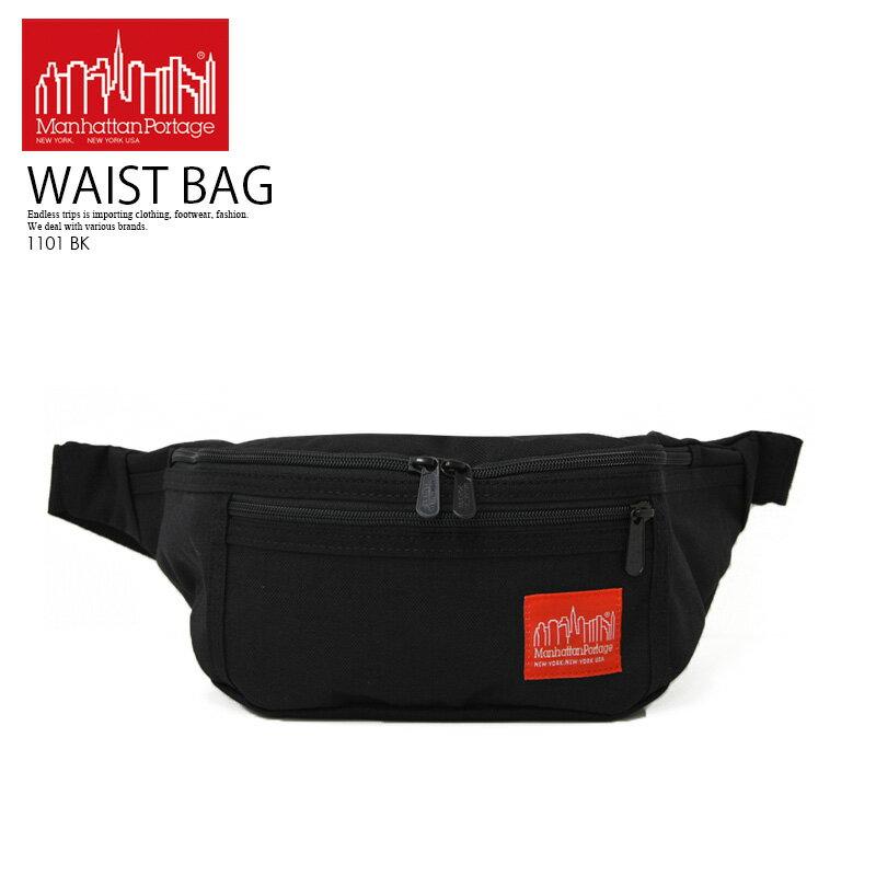 【大人気!! 希少! ユニセックス】 Manhattan Portage (マンハッタン ポーテージ) Alleycat Waist Bag (アレーキャット ウエストバッグ) ボディバッグ ショルダーバッグ ナイロン コーデュラ BLACK OS (46*12*6) ブラック 1101 BK