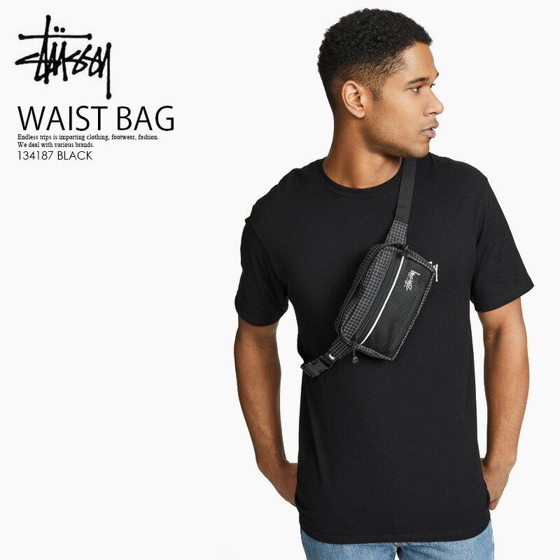 【日本未入荷 入手困難!】 STUSSY (ステューシー)RIPSTOP NYLON WAIST BAG (リップストップ ナイロン ウエスト バッグ) ボディバッグ ウエストバッグ BLACK (ブラック) 134187 BLACK ENDLESS TRIP ENDLESSTRIP エンドレストリップ
