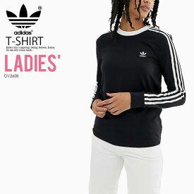 【大人気! 入手困難! レディース モデル】 adidas (アディダス) WOMENS 3-STRIPES LONG SLEEVE TEE (3STRIPES LS) (3ストライプス ロング スリーブ Tシャツ) 長袖 カットソー トップス ロンT レディース ウィメンズ BLACK (ブラック) DV2608 ENDLESS TRIP