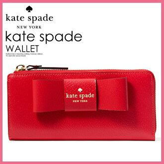 kate spade凯特黑桃MATTHEWS STREET NISHA女士扒手波恩L字型的拉链钱包长钱包蝴蝶结PILLBOX RED(617)红WLRU2638 ENDLESS TRIP(永无休止的旅行)