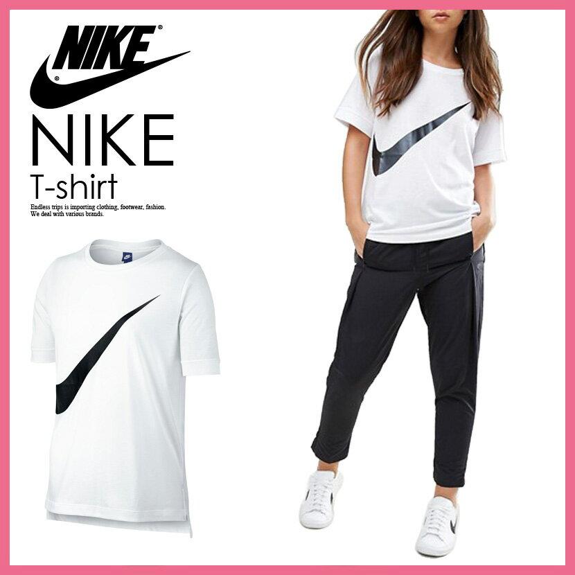 【希少!大人気!レディース サイズ】 NIKE (ナイキ) WOMENS SWOOSH LOGO T-SHIRT スウッシュ ロゴ Tシャツ レディース ウィメンズ WHITE/BLACK (ホワイト/ブラック) 831107 101 ENDLESS TRIP(エンドレス トリップ)
