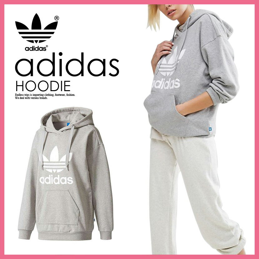 【海外限定!日本未発売!レディース】 adidas (アディダス) TREFOIL HOODIE WOMENS (トレフォイル フーディー) スウェット パーカー プルオーバー ロゴ MEDIUM GREY HEATHER/WHITE (グレー/ホワイト) BP9486 ENDLESS TRIP(エンドレス トリップ)