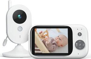 ベビーモニター 遠隔監視 双方向音声通信 カメラ 見守りカメラ 暗視機能付き 子守唄内蔵 多機能付き 360度回転 ベビーカメラ 介護 出産祝いプレゼント 日本語取扱説明書付き ホワイト BM32