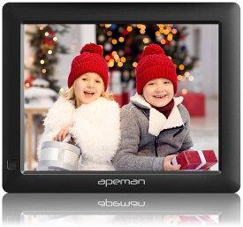 デジタルフォトフレーム【進化版】APEMAN【正規代理店】8インチ 1280*800解像度 IPS視野角 液晶高画質 MMC/SD/USB/mini USB対応 写真/動画/音楽再生 時計/カレンダー/アラーム機能付き クリスマス プレゼント 黒