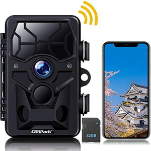トレイルカメラ 防犯カメラ Campark 監視 屋外 暗視カメラ WIFI機能 人感センサー 動き検知 2000万画素 1296P 夜間赤外線ライト搭載 120°検知範囲 IP66防水防塵 電池式 防水 家庭用カメラ 庭 屋外 動